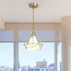 Brass Diamond Cage Pendant Lighting Simplicity 1 Head Metallic Ceiling Suspension Lamp with Inner Flaxen Fabric Shade - 220V-240V Brass