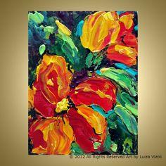 Original Oil Painting Red Pansies Flowers Impasto by LUIZAVIZOLI, $69.00