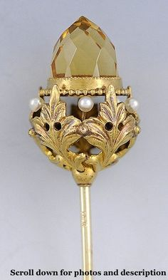 Beautiful 14k Gold Citrine Pearl Hat Pin C Early 1900s