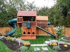 I love the big rocks and the flower/tree beds....rubber mulch instead of grass under the playground and I think I have some great ideas!  www.backyardimagination.com