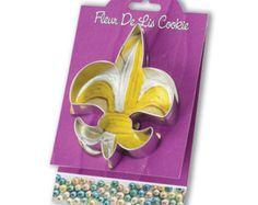 """Fleur de Lis Cookie Cutters  & recipe card Gift Set - baking supplies party favors -Fleur de Lys 4 5/8"""" Tin shaped cookies foundant treats"""