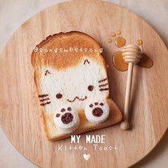 ❤️ Today's breakfast : My Kitten Toast with Maple Syrup ~ Hope u all love her ❤️ Made-to-order cookies Zakka Style Cutlery by Kawaii Bento, Cute Bento, Cute Food, Good Food, Yummy Food, Order Cookies, Japanese Food Art, Bento Recipes, Food Humor
