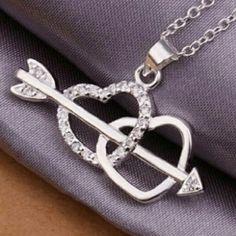Silver Arrow Through Hearts Necklace