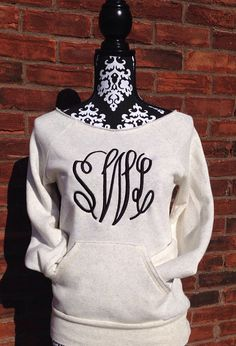 Ladies Monogram Sweatshirt on Etsy, $35.00. #monogram #embroidery #monogramsweatshirt