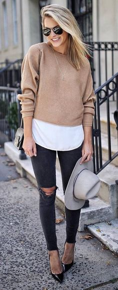 fall casual style obsession nude sweater + hat + rips + heels + bag