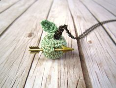 Crocheted apple necklace by HoKiou on Etsy
