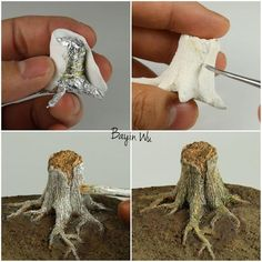 Realistic tree trunk in mini size. The post Realistic tree trunk in mini size. appeared first on Easy Crafts. Miniature Crafts, Miniature Houses, Miniature Trees, Miniature Fairy Gardens, Miniature Tutorials, Paperclay, Polymer Clay Crafts, Polymer Clay Halloween, Polymer Clay Fairy
