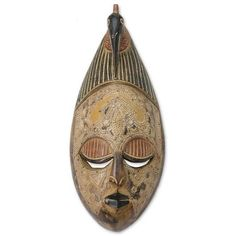 NOVICA Artisan Hand Carved Wood Mask (86 NZD) ❤ liked on Polyvore featuring home, home decor, beige, masks, masks of ghana - other tribes, wood home decor, novica home decor, novica, wooden home decor and novica masks