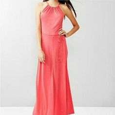 Gap panel maxi dress Such a beautiful coral pink color. Hangs slightly lower in the back. Thin and light. Perfect for that beach vacation. Brand new with $80 tags. Viscose. Ties in the back or on the side as shown in cover shot.  I'm 5'4 and dress hangs to my ankles. Then the back hangs a bit lower. Beautiful dress! GAP Dresses Maxi