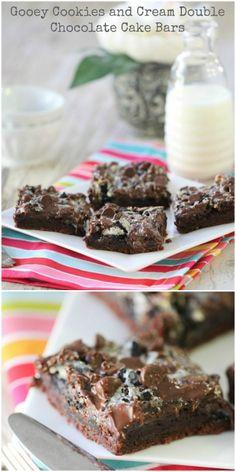 Gooey Cookies and Cream Double Chocolate Cake Bars!
