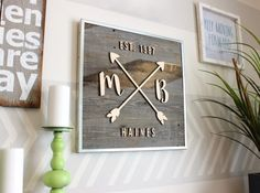 Reclaimed Wood Arrow Sign | Reclaimed Wood Anniversary Sign