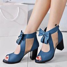 Zapatos Salón Sandalias De mujer Sandalias Salón Peep-Toe Cuero Tacón ancho
