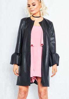 Layana Black Faux Leather Ruffle Sleeve Jacket