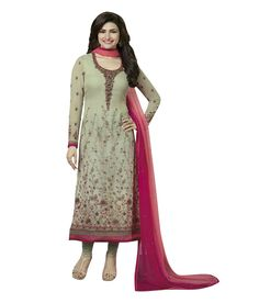 Naksh - Light Beige Embroidered Georgette Churidar Suit