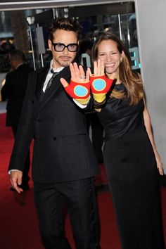 "and Susan Downey, ""Talk to the hands"" Susan Downey, Robert Downey Jr., Iron Man 3, Iron Man Movie, Downey Junior, Tony Stark, American Actors, Cute Couples, Boy Bands"