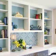 Built in for window wall - paint background in aqua.