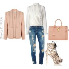 A fashion look from September 2014 featuring silk long sleeve shirt, long sleeve blazer and skinny fit jeans. Browse and shop related looks. Winter Fashion Casual, Spring Summer Fashion, Autumn Winter Fashion, Winter Wear, Fashion Outfits, Womens Fashion, Fashion Trends, Passion For Fashion, Fashion Forward