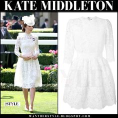Kate Middleton in white lace dress at the Royal Ascot