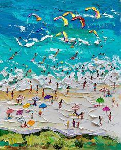 Summer Beach Knife Oil Paintings by Alena Shymchonak Beach Scene Painting, Rose Oil Painting, City Illustration, Landscape Illustration, Original Art, Original Paintings, Oil Paintings, Creative Pictures, Beach Art