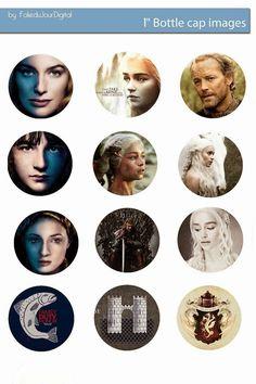 "Free Bottle Cap Images: Game of Thrones Free digital bottle cap images 1"" 1inch"