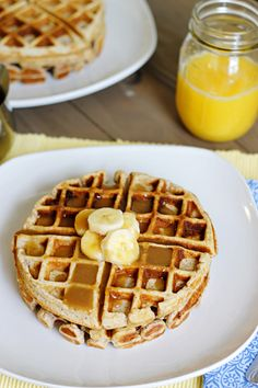 Banana Waffles with Peanut Butter Maple Syrup |  Andrew and I just made these- unbelievably good!!!!! We added a tablespoon of cocoa powder for some extra excitement, combining all of Andrew's favorite things :)