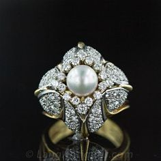 Pearl and Diamond Bombe Cocktail Ring - 30-1-1083 - Lang Antiques