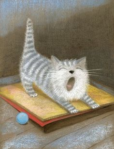 cat yawning. I'm not sure what the following says: Huuuuuuuuuuhhhhhh:wordt slaperig van al die slapende katten !!! :-) xxxxx