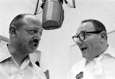 Mel Blanc (left) and Alan Reed recording the voices of Barney Rubble and Fred Flintstone, respectively. - How They Made 'The Flintstones': 15 Unpublished Photos