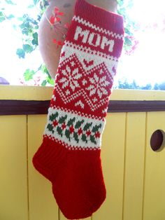 Items similar to Hand knit Christmas Stocking with folksy ornaments Personalized Christmas decoration Christmas gift on Etsy Knit Stockings, Knitted Christmas Stockings, Christmas Knitting, Crochet Stocking, Christmas Stocking Pattern, Norwegian Knitting, Personalised Christmas Decorations, Christmas Crafts, Christmas Trends