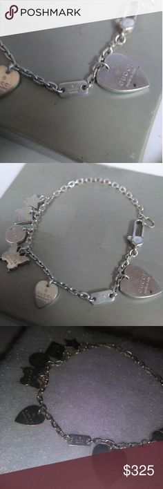 Authentic Gucci charm bracelet Beautiful authentic Gucci sterling silver bracelet marked 925 with Gucci stamp. It could use a good cleaning. Each charm carries its own value and unique design. The bracelet is buy Gucci also, rare and classic piece. Comes in a box or soft draw bag. Gucci Jewelry Bracelets