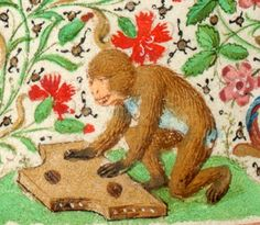 Monkey playing a dulcimer, from Trivulzio Book of Hours, 1400s. Koninklijke Bibliotheek
