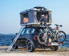 Camping with a MINI Cooper.