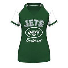 Majestic New York Jets NY Tee V-Neck Raglan T-Shirt