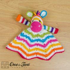 Combo Pack Rainbow Zebra Lovey and Amigurumi par oneandtwocompany