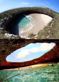 Hidden Beach on Marieta Islands, off the coast of Puerto Vallarta, Mexico.   Two shots... one from above and one from inside.