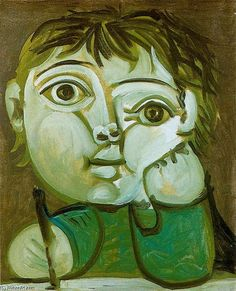 This painting by Pablo Picasso. The way the eyes are shaped and the angle of the eyes. The eyes attract mine over everything else.