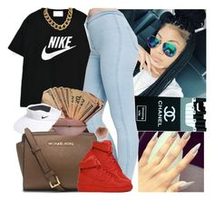 """""""Blinded By Da Haters """" by saucinonyou999 ❤ liked on Polyvore featuring NIKE, American Apparel, MICHAEL Michael Kors and Accessorize"""