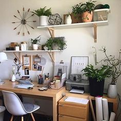 Inspiring workspace with shelves + plants › via @workspacegoals on Instagram