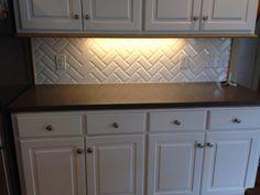 Kitchen Backsplash Beveled Subway Tile back splash - white beveled subway tiles in chevron pattern with