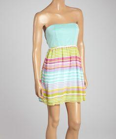 This Pink Stripe Strapless Dress is perfect! #zulilyfinds
