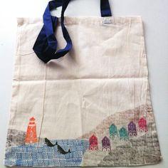 Bolsa de tela con motivos de playa