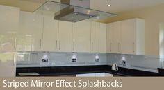 Mirror stripes- glass kitchen splashback by CreoGlass Design (London,UK). For more glass kitchen splashbacks and non-scratch worktops visit www.creoglass.co.uk #backsplash #kitchen