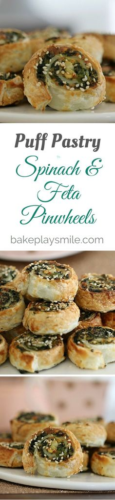 Spinach & Feta Pinwheels Conventional Method is part of food-recipes - The easiest and crispiest puff pastry Spinach & Feta Pinwheels! These make the perfect party food or super simple lunchbox fillers Savory Pastry, Puff Pastry Recipes, Puff Pastries, Choux Pastry, Savoury Pies, Appetizers For Party, Appetizer Recipes, Birthday Appetizers, Party Snacks