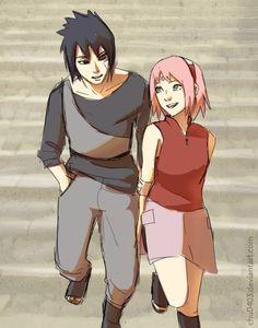 Walk and Talk Best Anime Couples, Naruto Couples, Naruto Shippuden, Sasuke Sakura Sarada, Kakashi, Le Clan, Naruto Team 7, Boruto Naruto Next Generations, Anime Couples Drawings