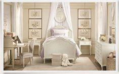 Traditional Kids Bedroom with Restoration hardware baby & child adele bed, Pendant Light, Wainscoting, Hardwood floors