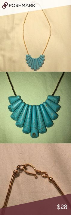 Turquoise statement necklace Stunning turquoise fashion necklace. Bought at Anthropologie a long time ago! Perfect condition! Anthropologie Jewelry Necklaces