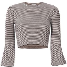 A.L.C. Women's Shiloh Striped Bell Sleeve Top ($275) ❤ liked on Polyvore featuring tops, bell sleeve crop tops, flared sleeve top, merino wool tops, cropped tops and flared sleeve crop top
