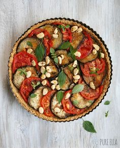Grain-free Tomato, Eggplant and Roasted Garlic Tart | Pure Ella #glutenfree #grainfree #plantbased #vegan #tart