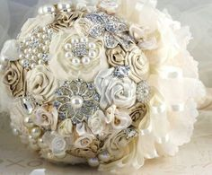 Bouquet with lace and fabric flowers and brooches