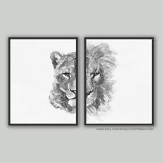 Lion King Lioness Print set of 2 Lion Head Art Print Lioness Lion Wall Art, Lion Art, Black And White Lion, Black And White Drawing, Lion Sketch, King Painting, Princess Pictures, Watercolor Walls, Safari Nursery